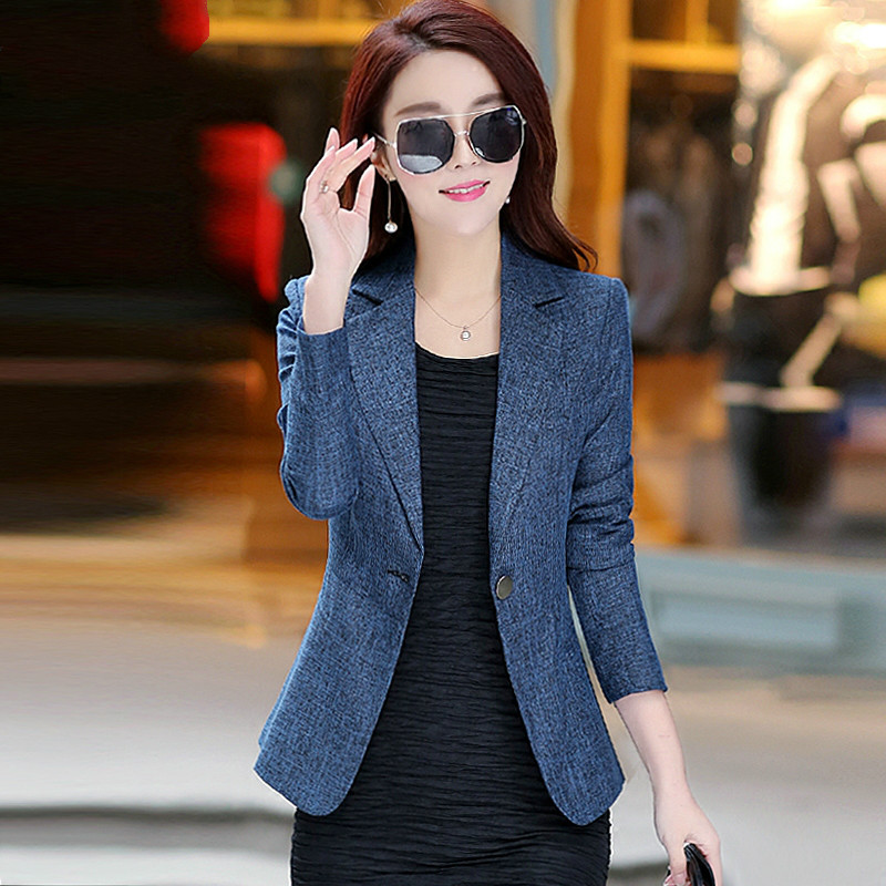 High Quality 2020 Spring Autumn Women Blazer New Style Winter One Button Work Wear Female Fashion Temperament Casual Suit Blue