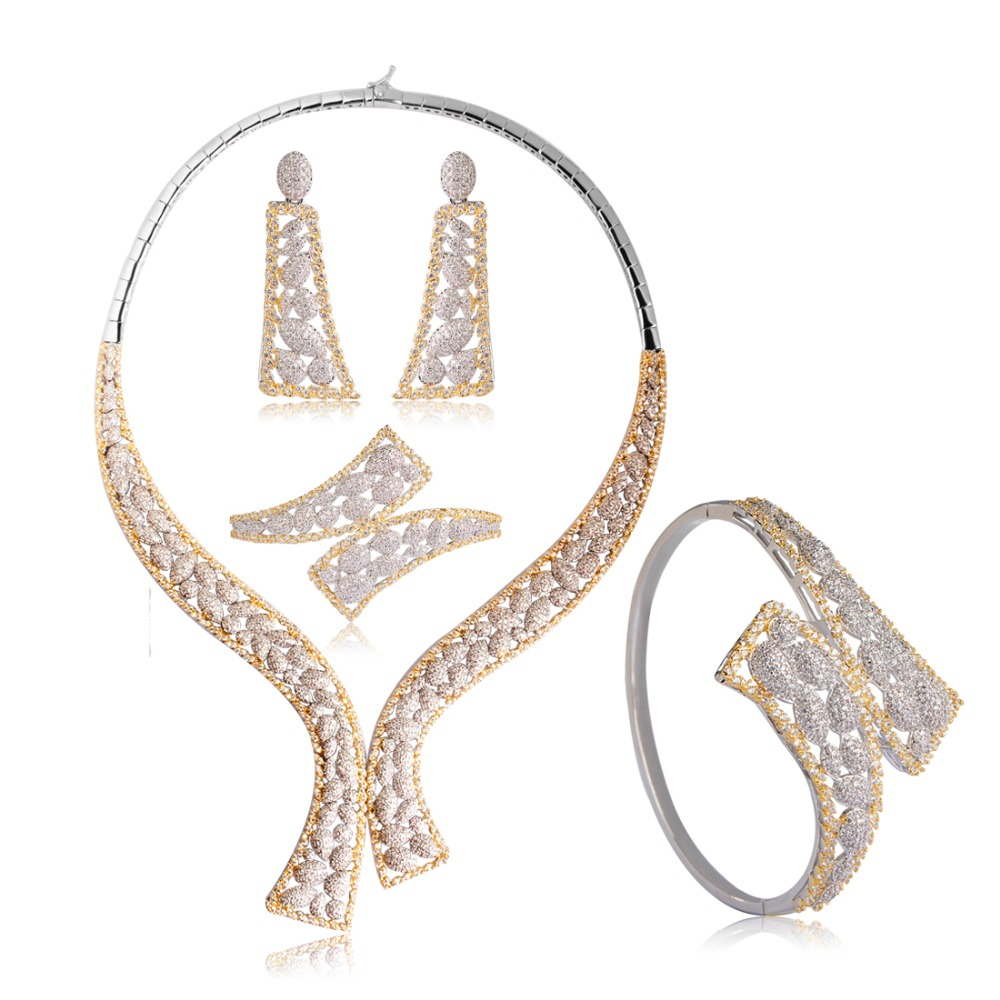 Dazz Two Tone Cubic Zircon Square Jewelry Sets Bridal Wedding Jewelry Choker Earring Ring Bracelet Set Aretes Anniversary Gifts
