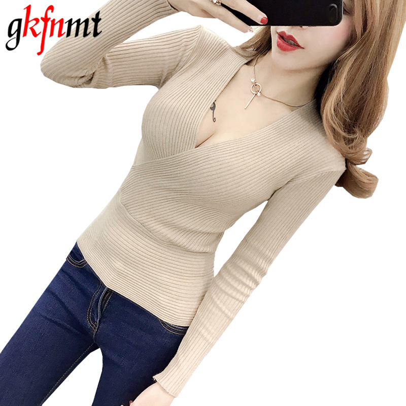 Gkfnmt Knitted Sweater Pullovers Women V-Neck Long-Sleeve Sexy High-Elastic Korean Red