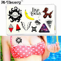 M-theory Temporary Tattoos Body Arts Flash Tatoos Stickers 10.5*6cm Harajuku Style Fake Tatto Swimsuit Bikini Dress Makeup Decal