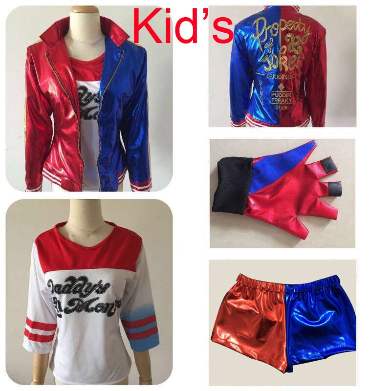 2016 NEW Kid s Suicide Squad Harley Quinn Cosplay Costume Outfit Full Set halloween children Christmas