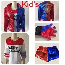 2016 NEW Kid's Suicide Squad Harley Quinn Cosplay Costume Outfit Full Set  halloween children Christmas gift jacket