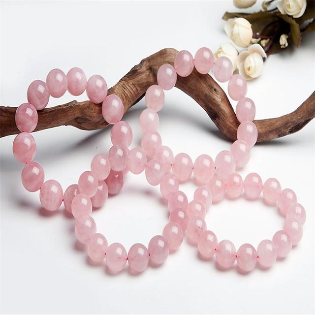 13-16mm Stretch Genuíno Cristal Transparente Das Mulheres do Sexo Feminino Natural Pedra Solta Contas Redondas Jóias Estiramento Pulseira Quartzo Rosa
