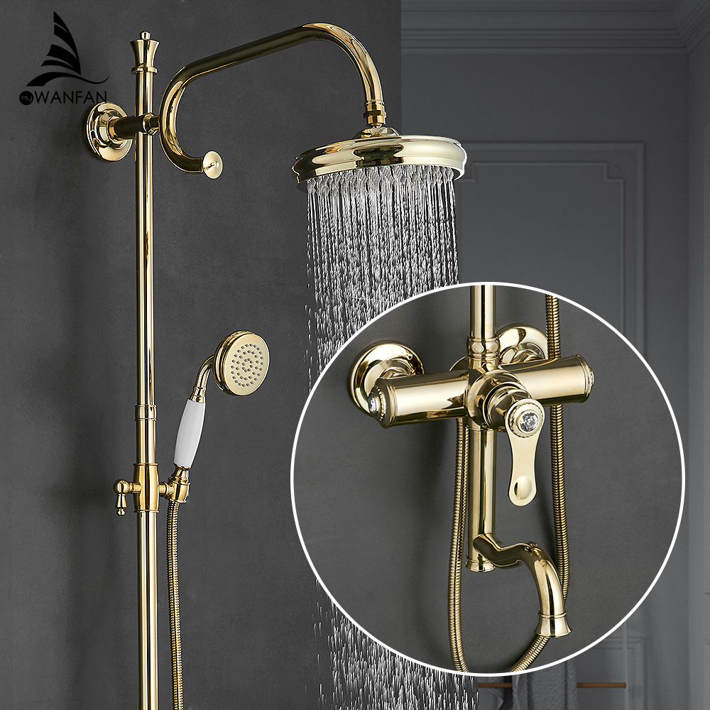 Fashion Shower Faucets Brass Gold Faucet Round Tube Single Handle Top Rain Shower With Slide Bar