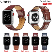 LPWHH Genuine Leather Watch Band Strap For Apple 38mm 42mm Pin Buckle Black Brown Durable Bracelet Watchbands Iwatch