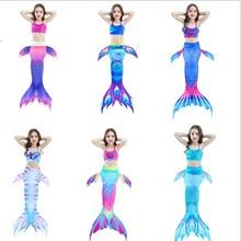 3PCS  New Children Mermaid Tails Kids Girls Costumes Swimming Tail Swimsuit No Flipper for