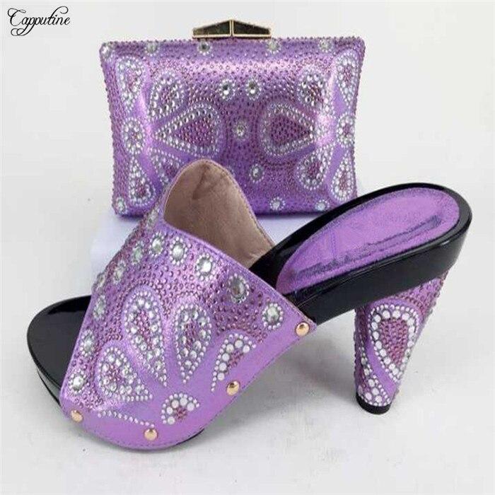 Nouveau venir lumière pourpre de mode lady chaussures avec sac ensembles avec des pierres pour soirée parti taille 37-43 228-1, talon hauteur 10 cm