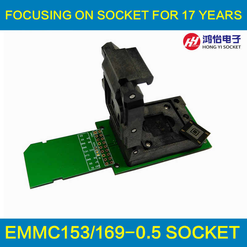eMMC socket eMMC153 eMMC169 chip Reader Clamshell Structure BGA153 BGA169 Chip socket data recovery date backup Android repair bga153 bga169 emmc test board programmer test block burning seat aging seat chip size 14x18 emmc169 153 development board