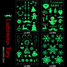 Le001-004 21*15cm Body Art Merry Christmas Luminous Large Tatoo Sticker Snow Man Deer Temporary Fake Tattoo Stickers