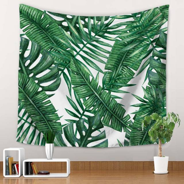 Miracille Polyester Tropical Plant Pattern Wall Cloth Hanging Tapestry Wedding Party Gift Bedspread Beach Towel Yoga Picnic Mat 6