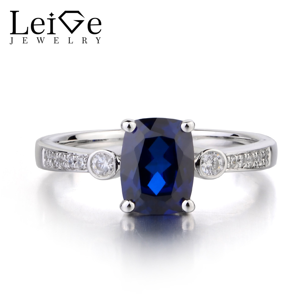 Leige Jewelry Lab Blue Sapphire Ring Cushion Cut Gemstone September Birthstone Engagement Ring 925 Sterling Silver Ring for Her leige jewelry oval cut lab blue sapphire promise ring 925 sterling silver ring gemstone september birthstone halo ring for her