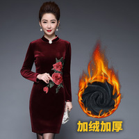 Women Autumn Elegant Velvet Embroidered Dress Plus Size M 5XL Chinese Style Thick Cheongsam Dress Wedding