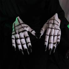 1 Pair Halloween Ghost Claw Gloves Masquerade Dress Up Props Cosplay Costume Accessory Horror White Devil Hands