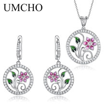 UMCHO 925 Sterling Silver Jewelry Sets for Women Gemstone Emerald Ring Pendant Necklace Wedding  Gift