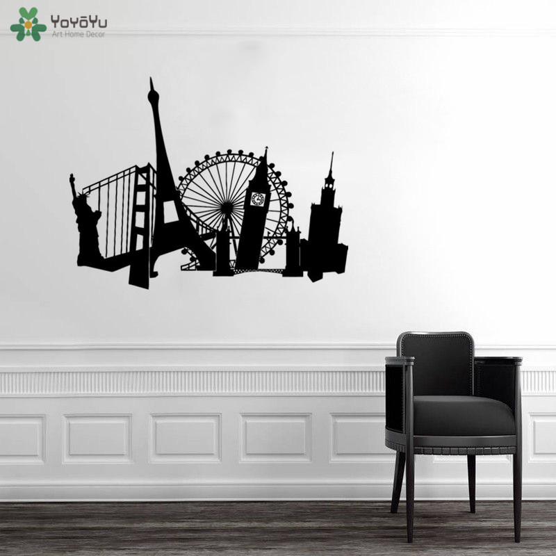 YOYOYU Wall Decal French Tower Statue Free London Eye Wall Decal Art Sticker Picture Living Room Architectural Poster QQ133 in Wall Stickers from Home Garden