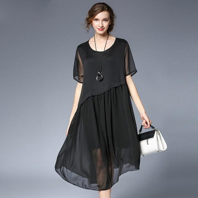 2018 Summer Elegant Women Chiffon Loose Long Dresses Plus Size Xl