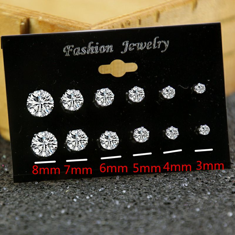 Fashion 6 Pairs Cubic Zircon Stud Earrings Set For Women Simple Round Silver Color Earring Statement Party Wedding Jewelry