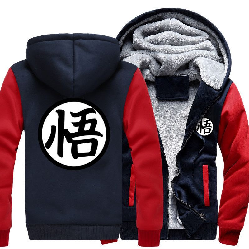 Winter Mens Hoodies Sweatshirts <font><b>Jacket</b></font> <font><b>Dragon</b></font> <font><b>Ball</b></font> <font><b>Z</b></font> Fleece Kanji <font><b>Goku</b></font> Male Sweatshirt Hooded Anime Zipper Hoody Men Red Black image