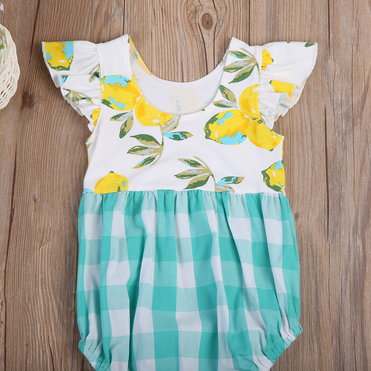 8d4e1aabdcf Toddler Kids Baby Girls yellow palid Plaid Bodysuit outfit print summer  kids Jumpsuit flutter sleeve sunsuit Clothes-in Bodysuits from Mother    Kids on ...