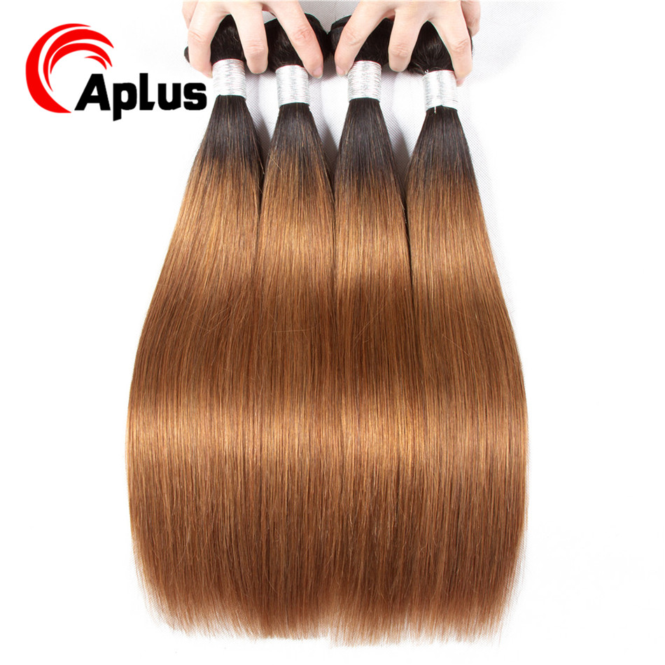 Aplus Ombre Hair 4 Bundles Brazilian Straight Hair 2 Tone 1b 27/1b 30 Pre-Colored Non Remy Ombre Human Hair Weave Extensions