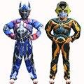 Muchachos de los cabritos trajes de cosplay película superhero transformers optimus prime bumblebee trajes de cuerpo entero carniva jumpsuit + máscara de halloween