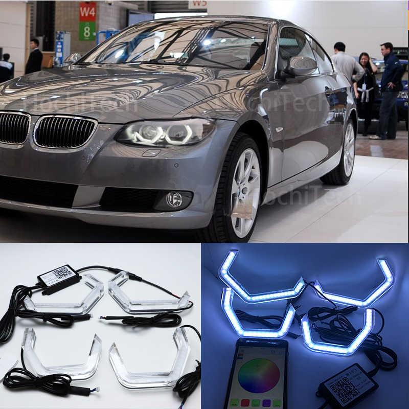 WIFI RGB רב צבע M4 אייקוני סגנון LED קריסטל מלאך העין אור ערכות עבור BMW 3 סדרת E90 E92 e93 M3 2007-2013 קסנון