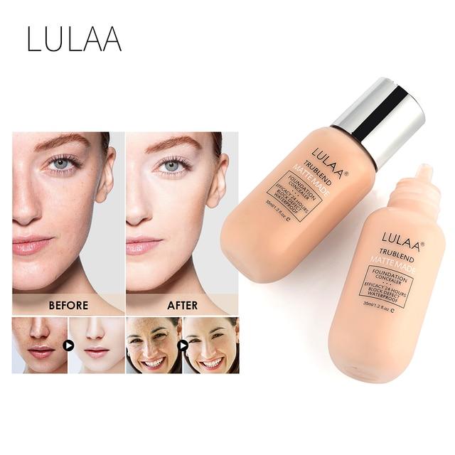 LULAA 7 색 소프트웨어 리퀴드 파운데이션 Concelaer 방수 지속성 퍼펙트 커버 페이스베이스 메이크업 프로페셔널 페이셜 여성