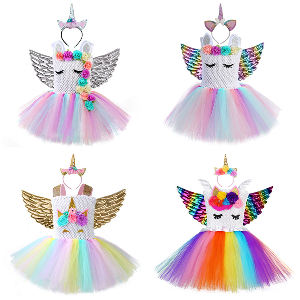 2019Girls Unicorn Costume Rainbow Pony Birthday Tutu Outfits Fluffy Sparkle Tulle Fancy Dress Up Party Dress With Headband Wings