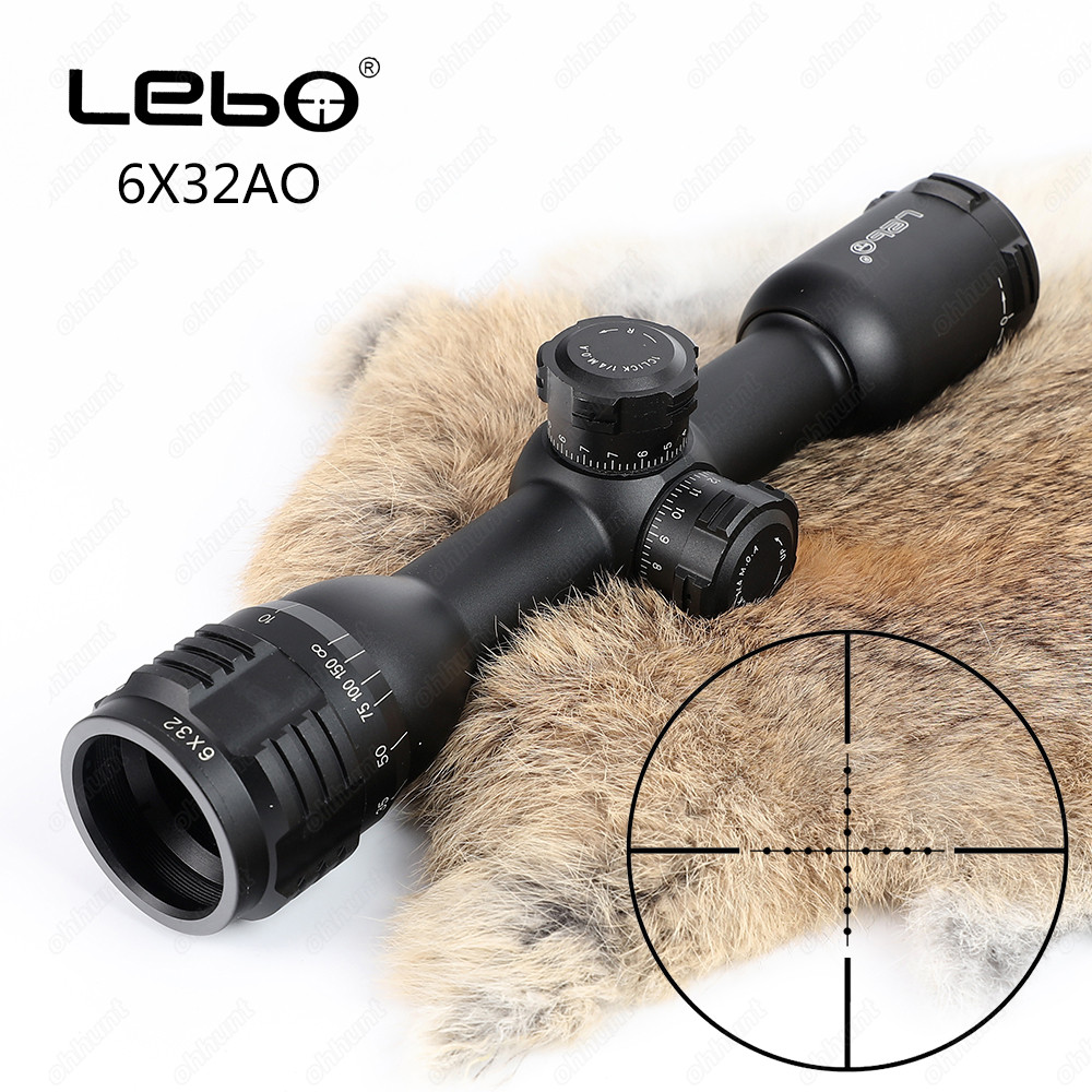 LEBO 6x32 AO Mil-Dot Glass Etched Reticle Compact Lock Tactical Optical Sight Rifle Scope For Hunting Riflescope bsa mil dot 8 32x40 ao rifle scope 25 4mm scope ring mount rbo