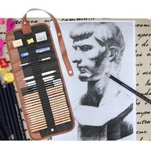 อุปกรณ์ศิลปะSketchชุดศิลปะภาพวาดดินสอถ่านEarserมีดดินสอร่างภาพวาดผ้าใบดินสอชุดสำหรับเด็ก