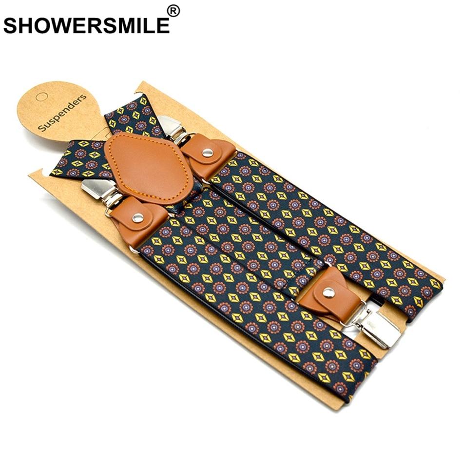SHOWERSMILE Suspender Pants Men Sun Flower Print Straps 3 Clips Suspender Y Back Adjustable Black Braces Male Suspender Belt Man