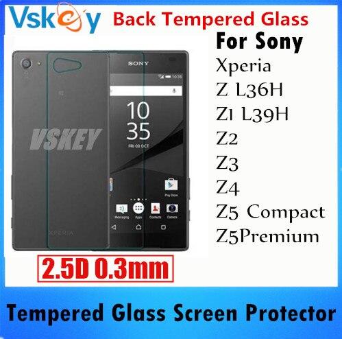 imágenes para 20 unids 2.5D 0.3mm Volver Película de Vidrio Templado Para Sony Xperia Z L36H L39H Z1 Z2 Z3 Z4 Z5 Z5 Compacto Anti-Shatter Protector