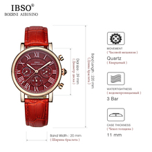 IBSO Luxury Brand Roman Numerals Women Watch High-End Week And Calendar Fashion Watch Women Genuine Leather Strap Montre Femme