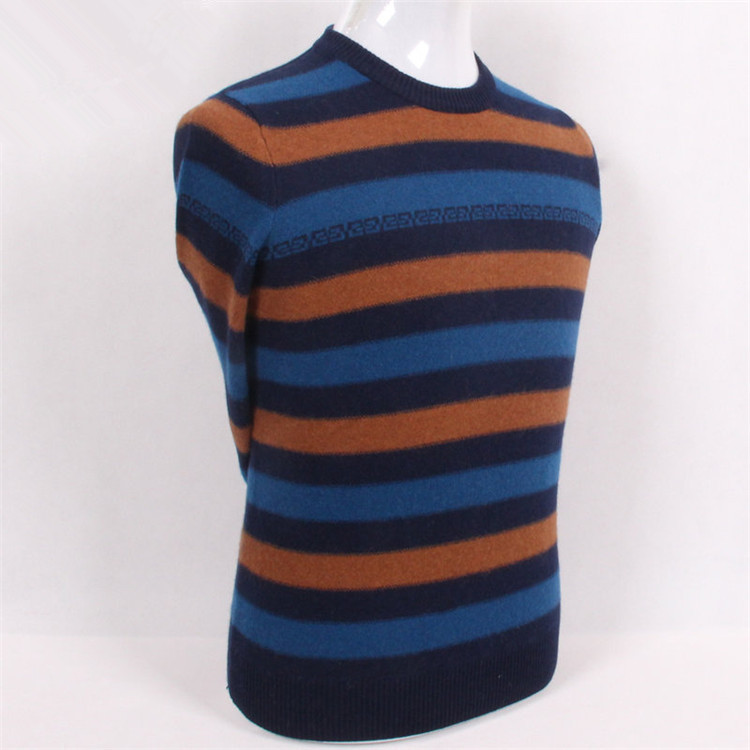 Pure Goat Cashmere Jacquard 3color Striped Knit Men Fashion Oneck Pullover Sweater S-4XL