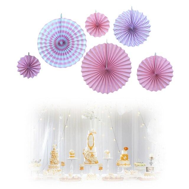 set of 6 pink paper fan for birthday baby shower bridal shower decoration wedding backdrop