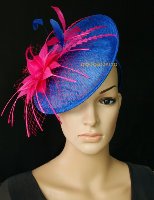 Cobalt Royal blue fuchsia hot pink Sinamay fascinator hat for kentucky  derby wedding party church 840d4373974