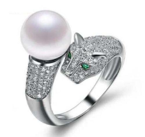 LIVRAISON GRATUITE vente CHAUDE nouveau Style>>>> Nouveau design naturel Parfait ronde AAA 10-11mm mer du sud BLANC perle anneau