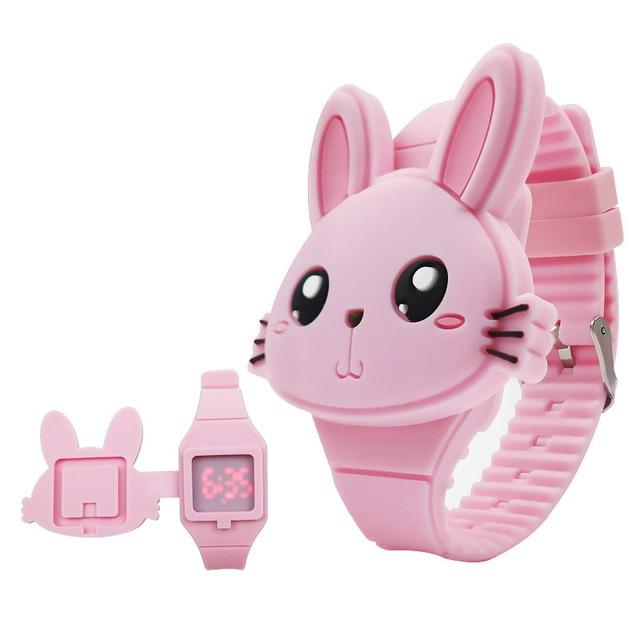 1 Pcs Kids LED Electronic Watch Silicone Band Cartoon Rabbit Flip Case Wrist Wat