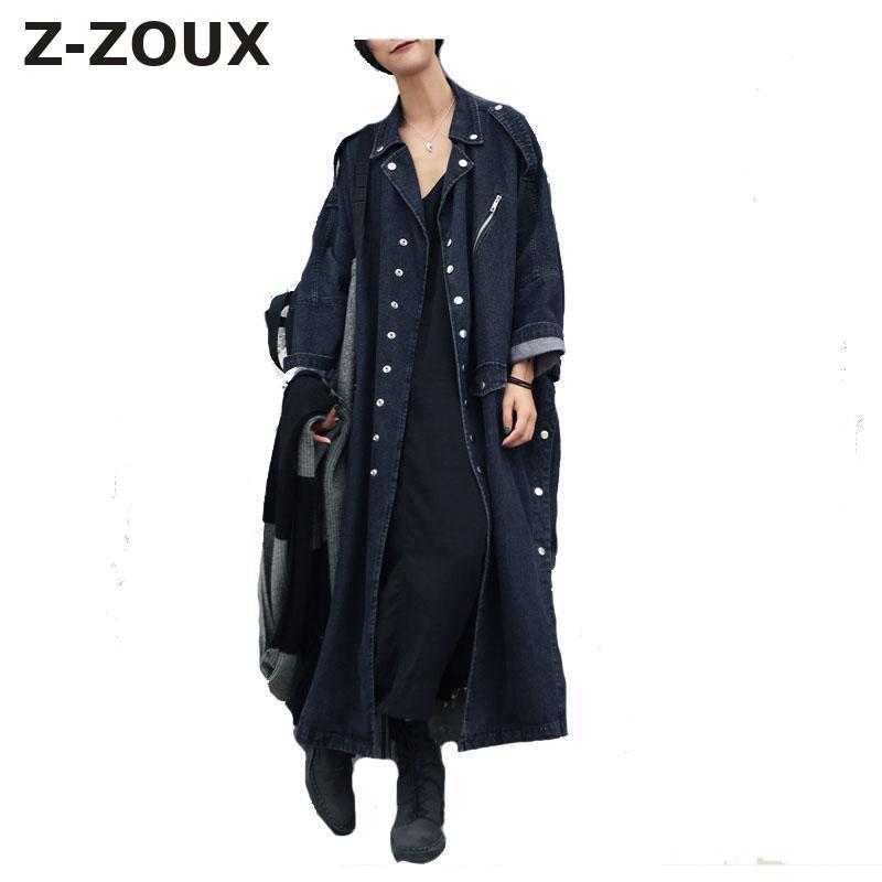 Z-ZOUX Femmes Trench Denim Manteau Lâche Jeans Long Manteau Oversize Split Coupe-Vent Femelle Manteau D'hiver Automne Tranchée Manteaux