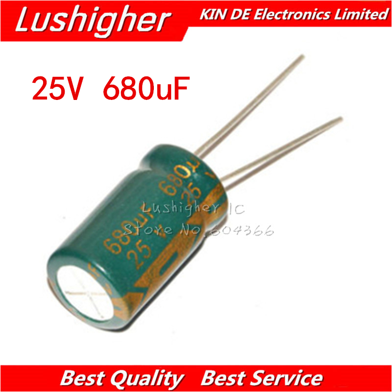 20PCS 25V680UF 10*13mm 680UF 25V 10x13 Mm Aluminum Electrolytic Capacitor DIP