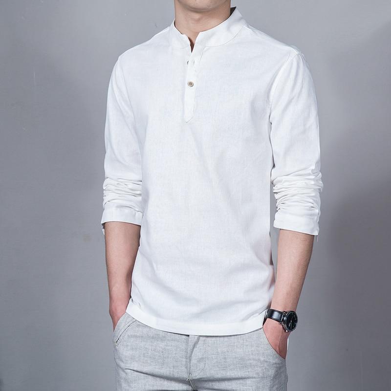 2017 Spring Summer Men 39 S Linen Cotton Blended Shirt