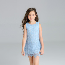 Girls summer new vest skirt with blue lace hollow decoration princess