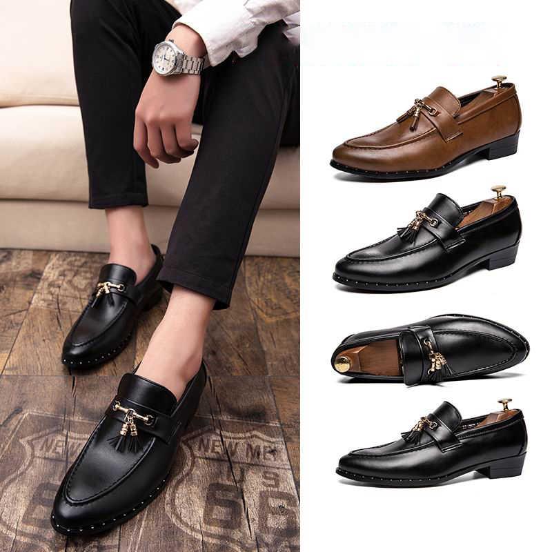 2019 New Men Leather Shoes Tassel Man