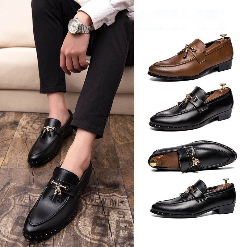 2019 New Men Leather Shoes Tassel Man Flat Classic Men Dress Shoes Leather Italian Formal Oxford Male Footwear Plus Size 38 46