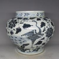 Antiguo Chinease YuanDynasty Tarro de la porcelana, Azul y Blanco olla grande, Pavo Real, artesanías, decoración, la colección y adorno, envío gratis