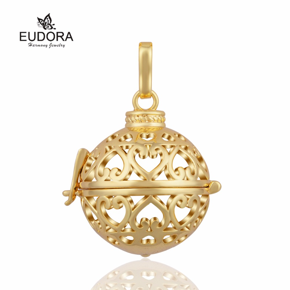 Retail Heart Pendant Harmony Bola Locket Cage Pendant for Lady Floating Angel Caller fit for Chime Sound Ball K150G20