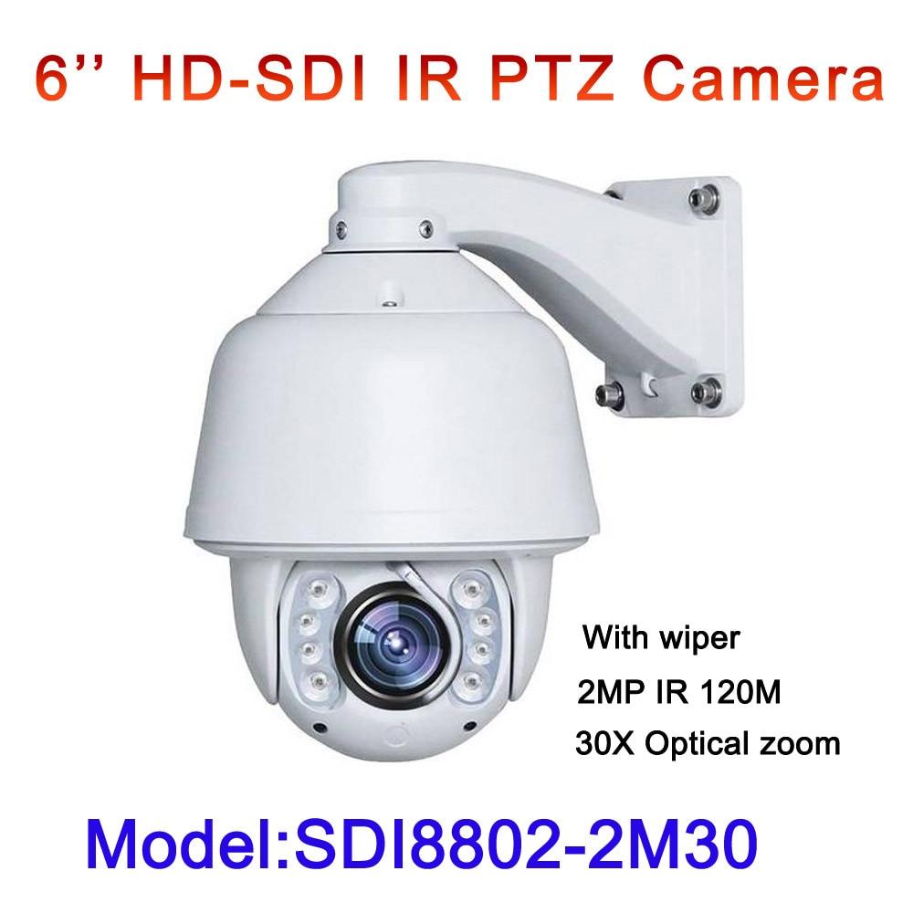HD SDI 1080P PTZ HD-SDI camera 2MP 6.0 to 180mm lens 30x optical zoom outdoor waterproof Built-in wiper High Speed Dome Camera hd sdi miniature headset bullet camera 1920x1080 30fps