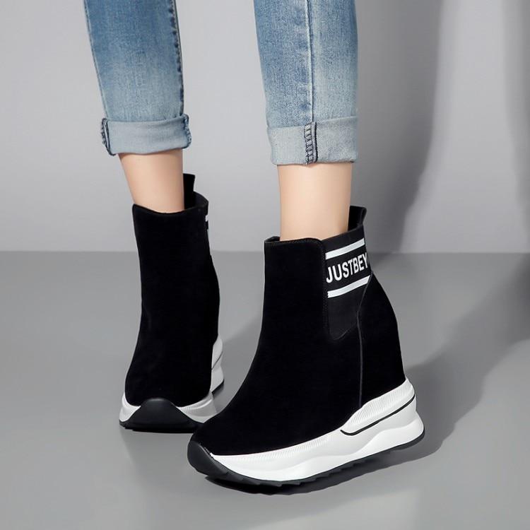 Qualit ckchen Wildleder Winter {zorssar} Schuhe schwarz Hohe t Stiefel Schnee Damen Heels Pelz Kuh S hCrtsQd