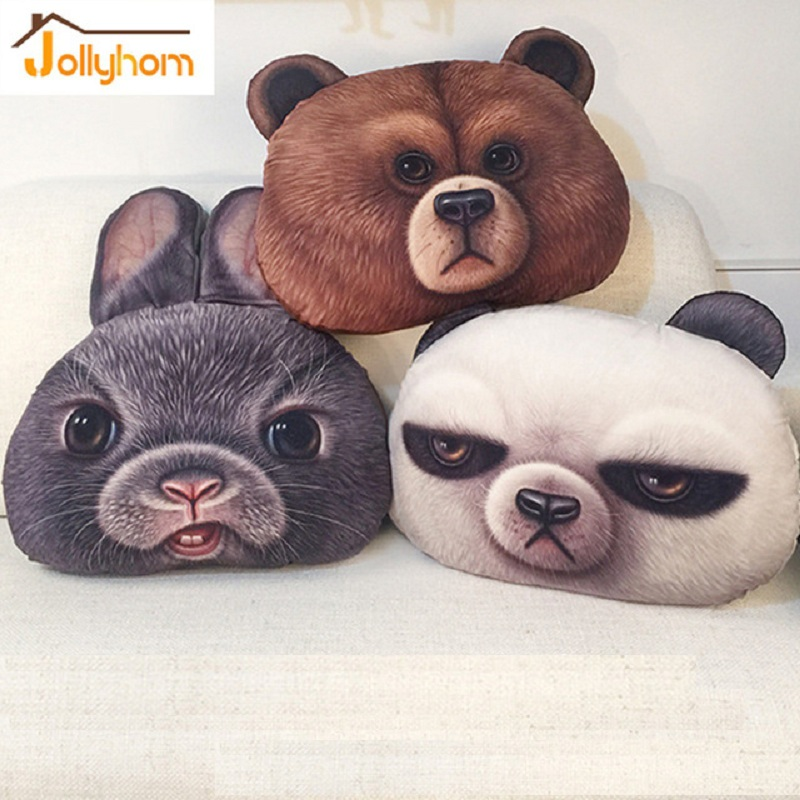 34*49cm Animal 3D Cute Bear Rabbit Pillow <font><b>Cushion</b></font> Cartoon Plush Toy Animal Doll <font><b>Home</b></font> Decor Throw Pillow Washable Car <font><b>Cushion</b></font>