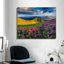 Flower Field Landscape Scenery Wall Art Canvas Painting Calligraphy Poster Print Decorative Picture for Living Room Home Decor